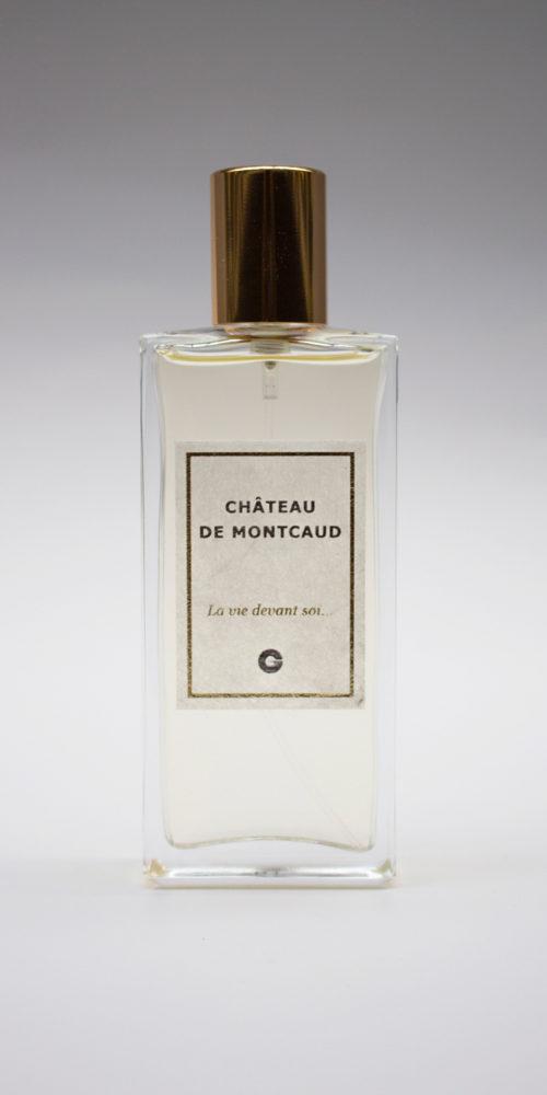 Étiquette en soie Sericyne marquée à chaud - Parfum du Château de Montcaud